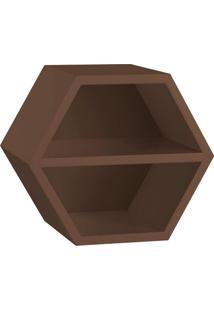 Nicho Hexagonal Favo Ii Com Prateleira Marrom Escuro