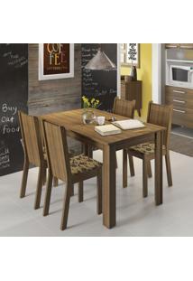 Conjunto De Mesa Com 4 Cadeiras Rosie Rustic E Floral Bege E Marrom