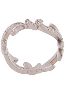 Hum Anel 'Thorn' De Ouro Branco 18K Com Diamantes - Metálico