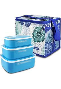 Conjunto Bolsa Térmica Quadrada E Kit De 3 Pçs Potes P/ Alimentos Azul