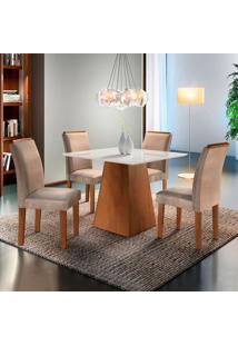 Conjunto De Mesa De Jantar Sevilha Com Vidro 4 Cadeiras Ll Suede Off White E Bege