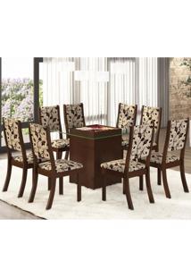 Conjunto Para Sala De Jantar Mesa E 8 Cadeiras Amora Siena Móveis Choco/Trigo