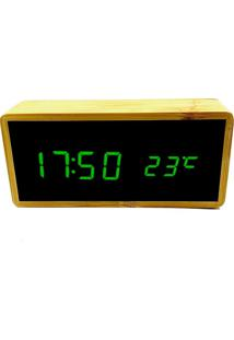Relógio De Mesa Despertador Termômetro Madeira Led Verde