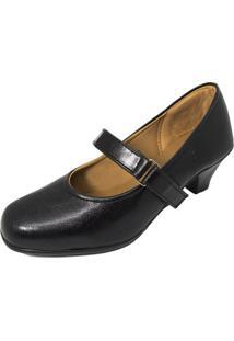 Sapato Boneca Fechado Salto Baixo Confort Preto
