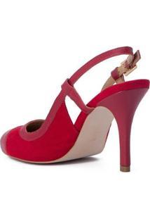 Scarpin Borgonha Slingback Cs Club - Feminino-Vermelho