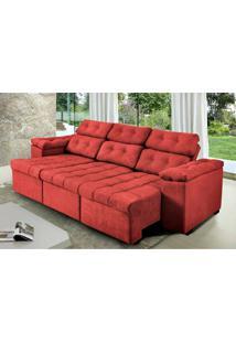 Sofa Itália 2,60 Mts Retrátil E Reclinavel Tecido Suede Vermelho - Cama Inbox