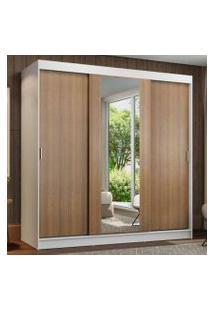 Guarda-Roupa Casal Madesa Reno 3 Portas De Correr Com Espelho Branco/Rustic Cor:Branco/Rustic