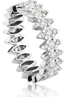 Anel De Ouro Branco 18K Navetes De Diamantes Aliança Inteira