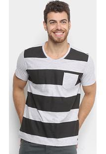 Camiseta Kohmar Gola V Listrada Com Bolso Masculina - Masculino