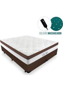 Cama Box King + Colchão Massageador C/ Infravermelho - Anjos - New King - 193X203X65Cm Marrom