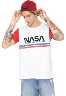 Camiseta Fiveblu Manga Curta Nasa Branca/Vermelha