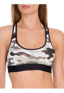 Sutia Top Racerback Cotton Camo - Preto - S