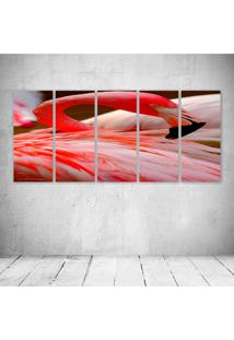 Quadro Decorativo - Flamingo (2) - Composto De 5 Quadros - Multicolorido - Dafiti