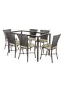 Jogo De Jantar 6 Cadeiras Turquia Tabaco A04 E 1 Mesa Retangular Sem Tampo Ideal Para Área Externa Coberta