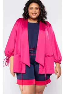 Blusa Almaria Plus Size Kapsuli Acetinada Rosa