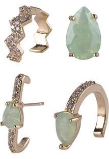 Kit De Brincos Armazém Rr Bijoux Com Piercing Pedra Verde
