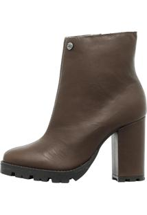 Coturno Ankle Boot Corazzi Leather Deluxe Couro Tratorado Café