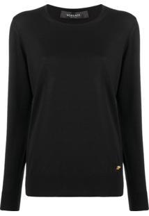 Versace Suéter Com Medua Bordado - Preto