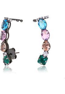 Brinco Ear Cuff Com Pedras Geométricas Verde, Azul, Laranja E Rosa Folheado Em Ródio Negro - 2180000000671