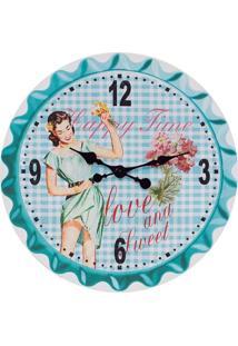 Relógio De Parede Happy Time Fullway Azul