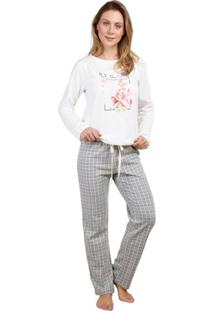 Pijama Inspirate De Inverno Xadrez Jacquard Feminino - Feminino-Preto+Cinza