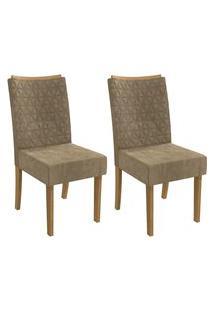 Conjunto 2 Cadeiras Estofadas Suede Kappesberg Cad129 Freijó/Caramelo