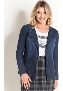 Jaqueta Jeans Moda Evangélica Azul Com Bolsos