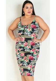 Vestido Midi Floral Com Amarração Plus Size