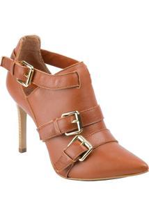 Ankle Boot Loucos E Santos De Couro Bico Fino Com Fivelas Silk/Castanho 37