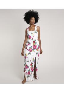 Vestido Feminino Longo Estampado Floral Alça Larga Off White