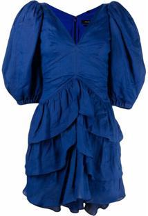 Isabel Marant Vestido Jaekia Com Mangas Bufantes - Azul