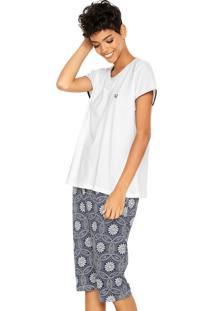 Pijama Pzama Estampado Bege/Azul