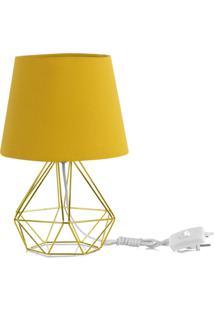Abajur Diamante Dome Amarelo Mostarda Com Aramado Dourado - Dourado - Dafiti