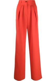 Rochas Calça Pantalona Com Pregas - Vermelho