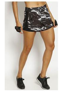 Body For Sure Short Abstrato Preto & Branco