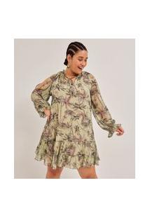 Vestido Curto Em Chiffon Estampa Coqueiros Curve & Plus Size | Ashua Curve E Plus Size | Verde | Eg