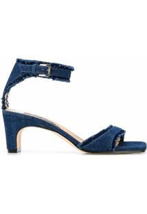 Sergio Rossi Sandália Jeans Com Franjas - Azul