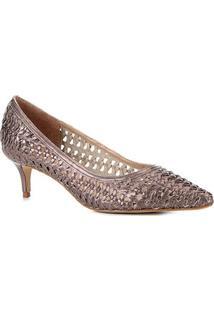 Scarpin Couro Shoestock Salto Médio Tressê - Feminino-Prata