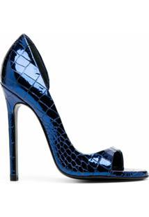 Maison Ernest Scarpin Com Abertura Frontal E Efeito Pele De Crocodilo - Azul