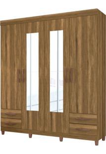 Guarda-Roupa Casal Com Espelho Diamante 4 Pt 4 Gv Amendoa