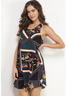 Vestido Lez Lez Curto Reto Estampado - Feminino-Colorido