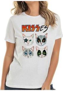 Camiseta Kisses Cat Buddies Feminina - Feminino-Branco