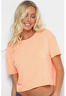 Camiseta Cropped Sommer Listrada Feminina - Feminino-Laranja