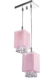 Lustre Sala Cganza Duplo Quadrado Cristal AcrãLico Rosa - Rosa - Dafiti