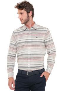 Camisa Yachtsman Reta Listrada Off-White/Rosa