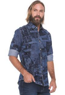 Camisa Jeans Triton Reta Estampada Azul