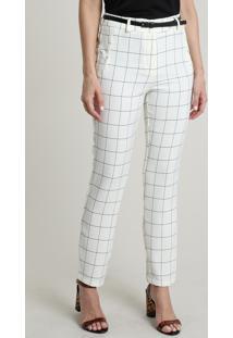 Calça Feminina Skinny Cintura Alta Estampada Quadriculada Com Cinto Off White