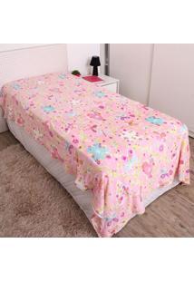 Cobertor Solteiro Kids 1,50X2,20M Flannel Andreza Rosa Bebê