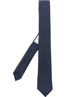 Thom Browne Gravata Risca De Giz - Azul