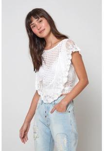 Blusa Detalhes Bordado Ingles Oh, Boy! Feminina - Feminino-Off White